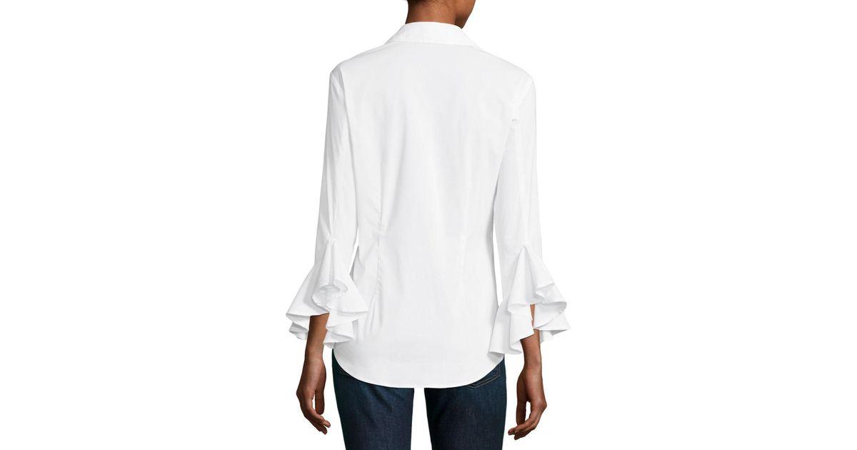 22a3c9d064d8e5 Lyst - Finley Carmella Silky Poplin Shirt in White