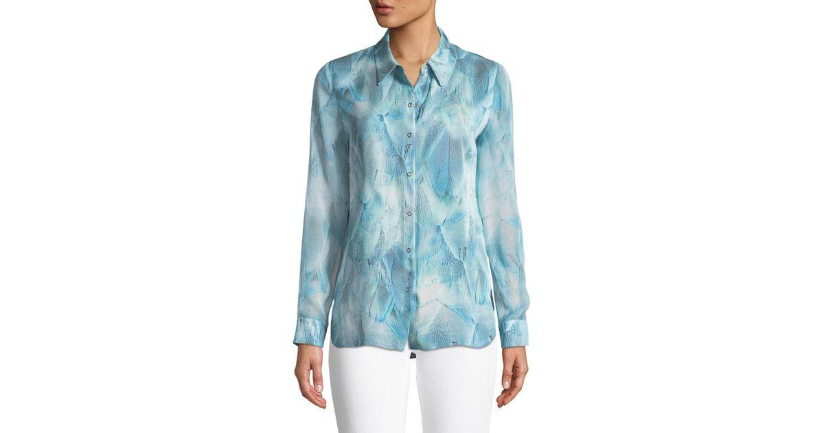 41663882862cfb Lyst - Elie Tahari Martha Feather-print Silk Blouse in Blue