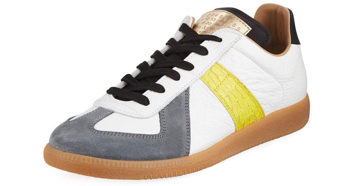 d44e49b1ca2 Maison Margiela - White Replica Men's Contrast-trim Leather & Suede Low-top  Sneakers for Men - Lyst