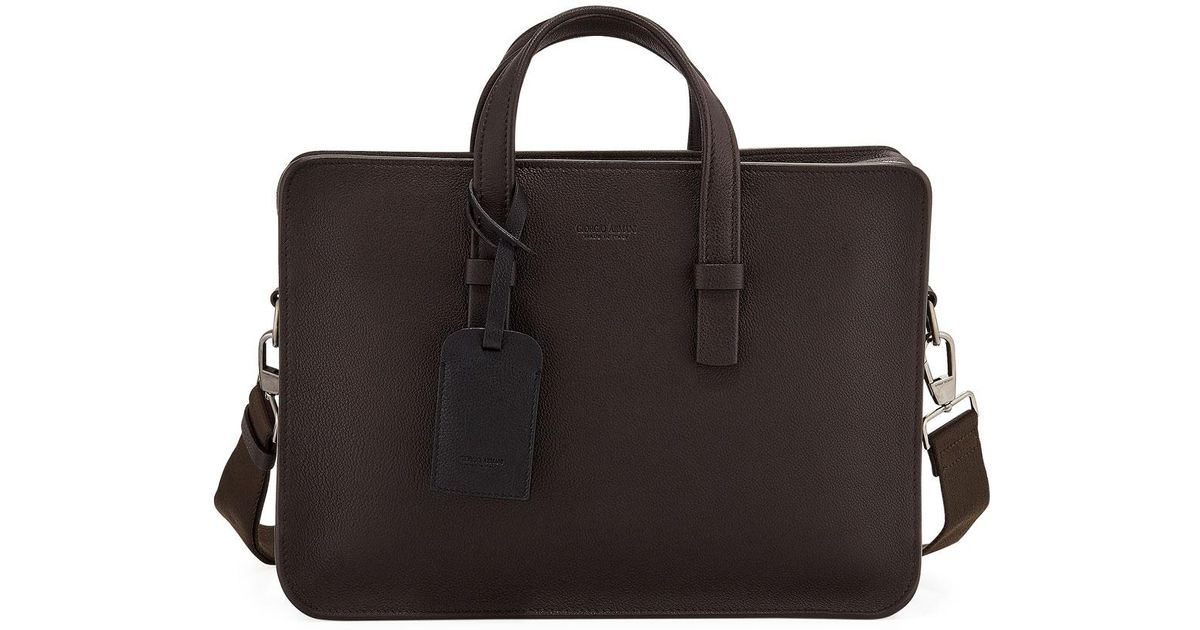 Lyst - Giorgio Armani Men s Tumbled Calf Leather Briefcase Brown in Brown  for Men be84ed11b2329