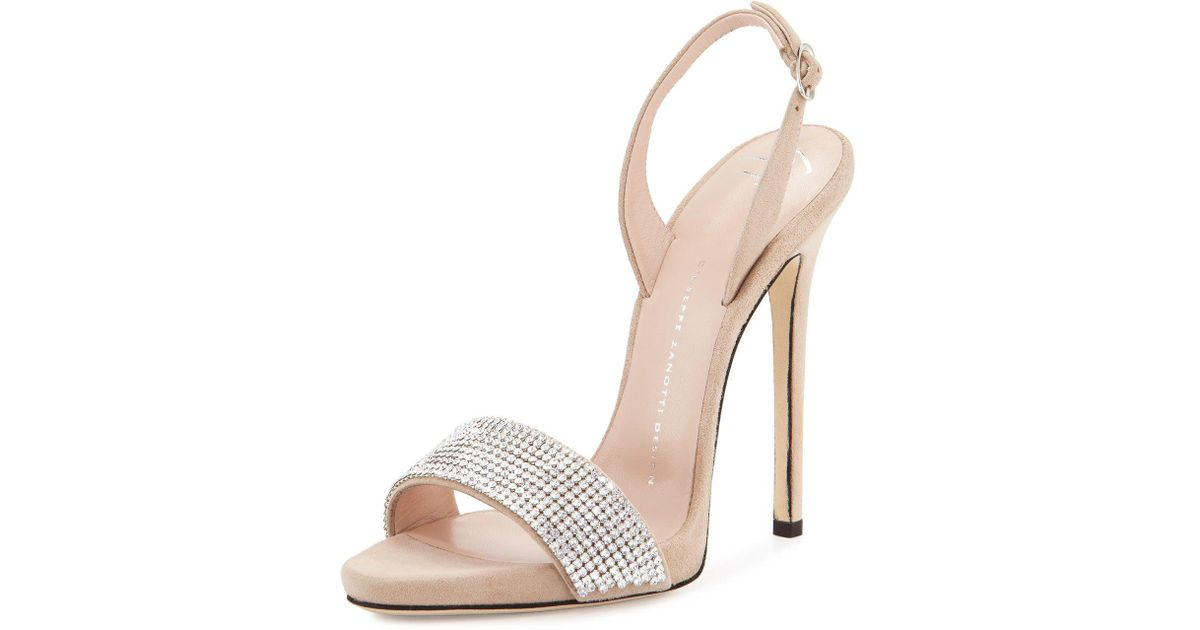 896866fcc92 Lyst - Giuseppe Zanotti Coline Crystal-Embellished Sandal in White