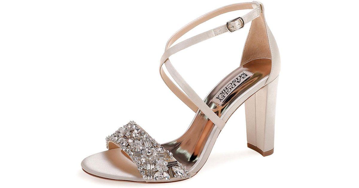 12fa235ab001 Lyst - Badgley Mischka Sandra Embellished Satin Cross-strap Sandals
