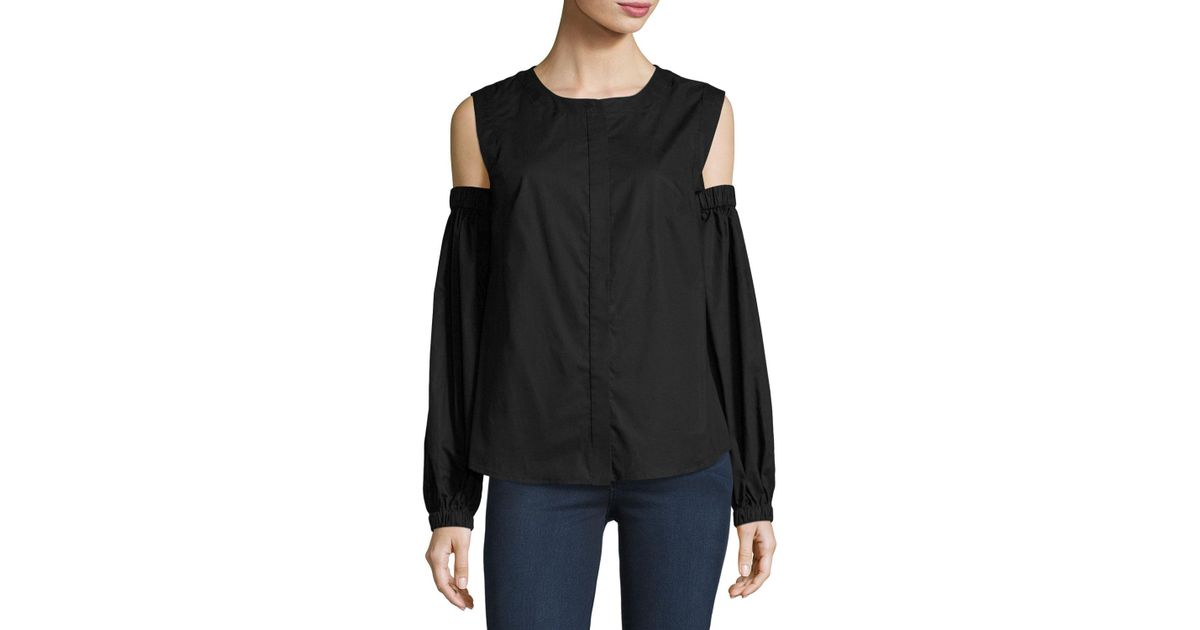 ba29df7e6f6cf Lyst - Milly Mica Cold-shoulder Round-neck Poplin Shirt in Black