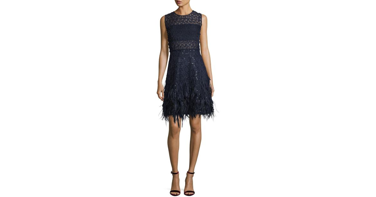 f0ec1824ac0 Lyst - Elie Tahari Anabelle Sleeveless Lace Cocktail Dress W  Feather Trim  in Blue