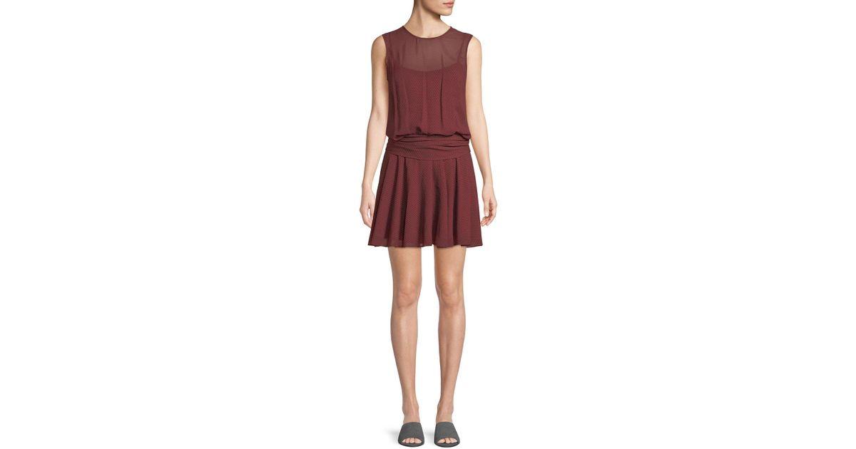 838cb4660404 Lyst - Theory Draped Dot-print Chiffon Dress in Red