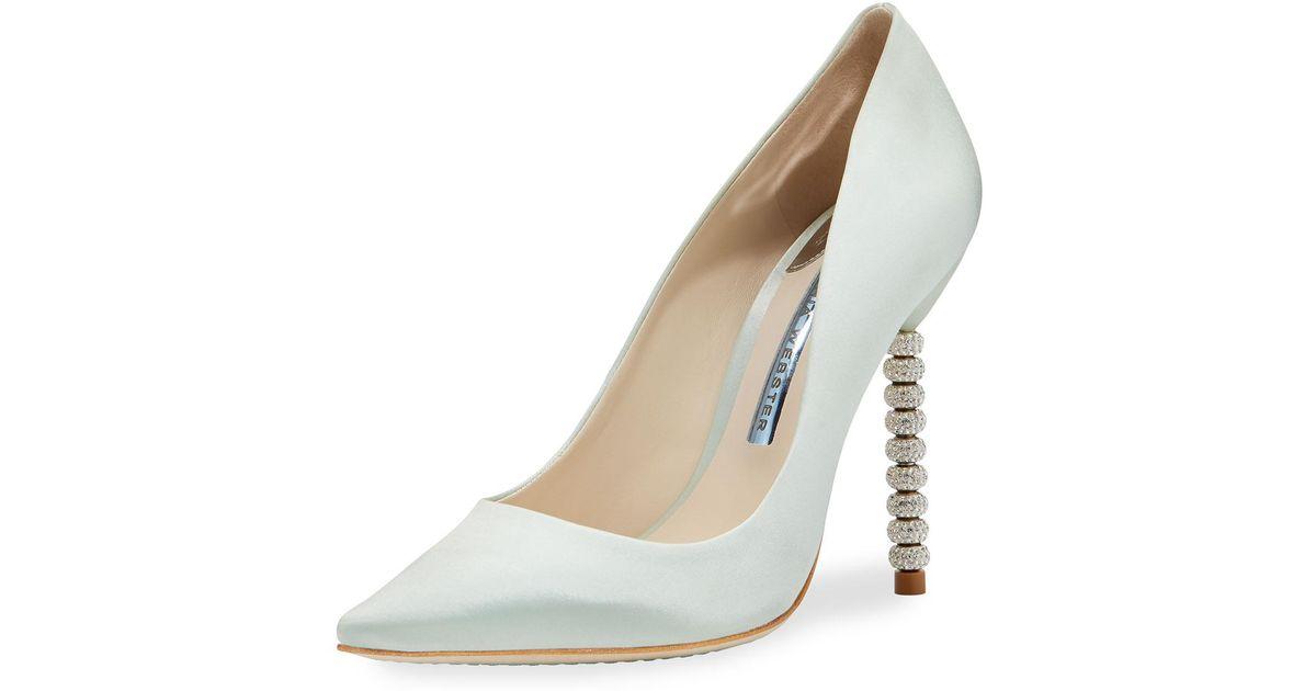 81dc0b0ac5330f Lyst - Sophia Webster Coco Satin Crystal-heel Bridal Pumps