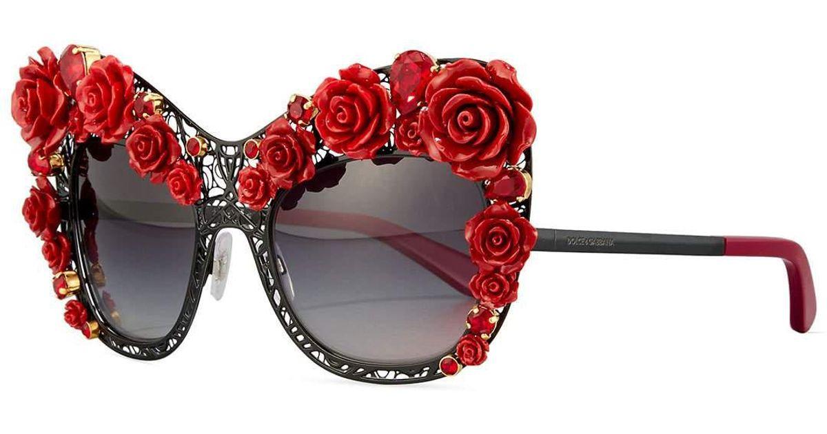 c82db1ff23b Lyst - Dolce   Gabbana Dolce Lace Rose   Rhinestone Cat-eye Sunglasses in  Black