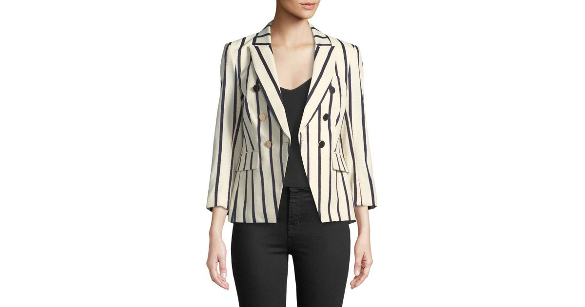 b9450be5e9ae Veronica Beard Empire Striped One-button Dickey Jacket in White - Lyst