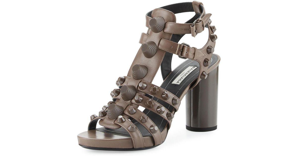 b4b384195a7 Lyst - Balenciaga Studded Chunky-heel Cage Sandal