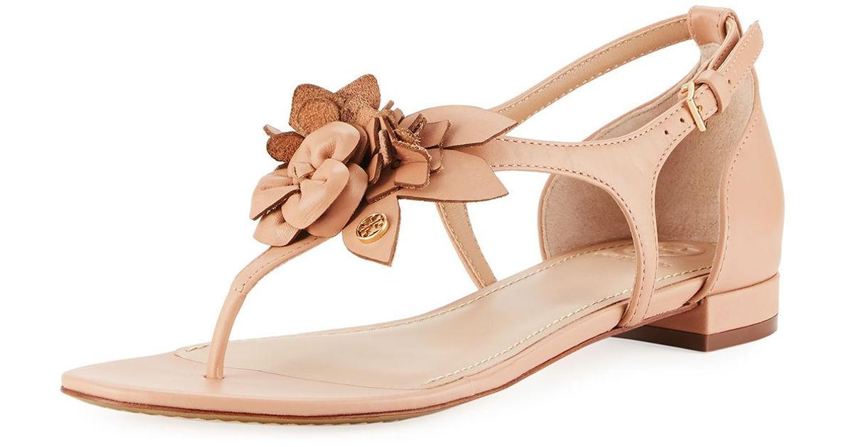 455dace39d7b9 Lyst - Tory Burch Blossom Flat Floral Sandal