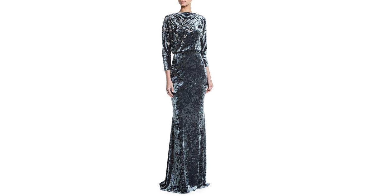 34ed7f585d9 Badgley Mischka Long-sleeve Blouson-top Beaded Crushed Velvet Evening Gown  in Gray - Lyst