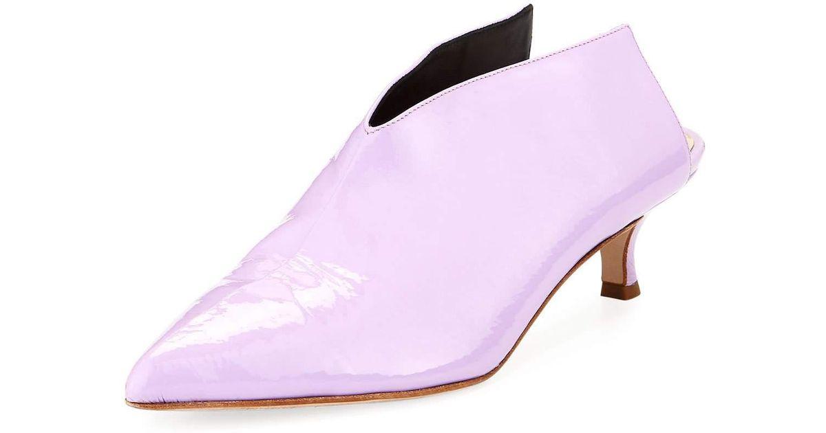 7dfe230e825 Lyst - Tibi Jase Crinkled Patent Kitten-heel Mule in Purple