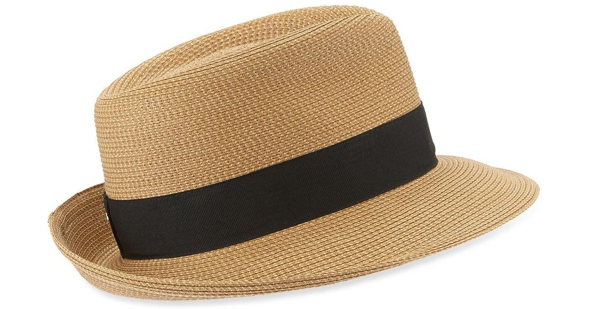 ca134c0acd6ae Eric Javits Squishee Classic Woven Fedora Hat in Natural - Lyst