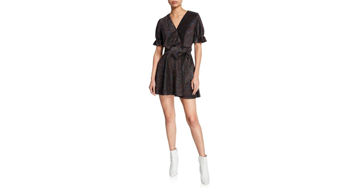 7de99fbce507 Lyst - Elliatt Millenia Metallic Short-sleeve Mini Dress With Bow in Black