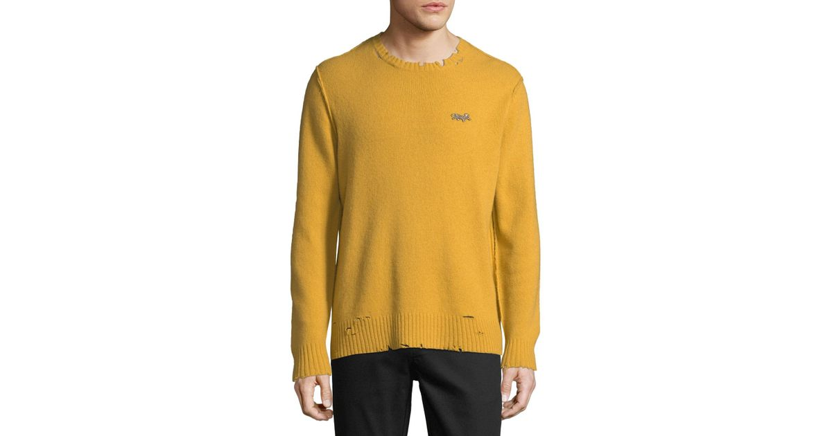 ed345868fddcc3 Lyst - Ovadia And Sons Men's Leopard Distressed Sweater in Metallic for Men