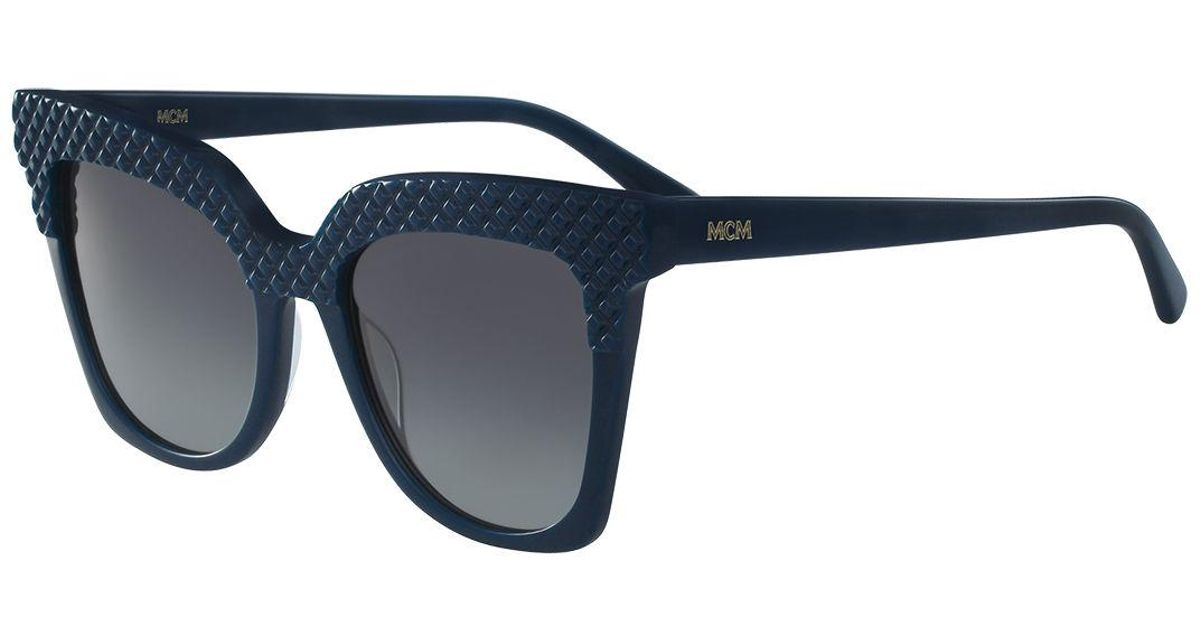 acb4c0a88e Lyst - MCM Embossed Monochromatic Cat-eye Sunglasses in Blue