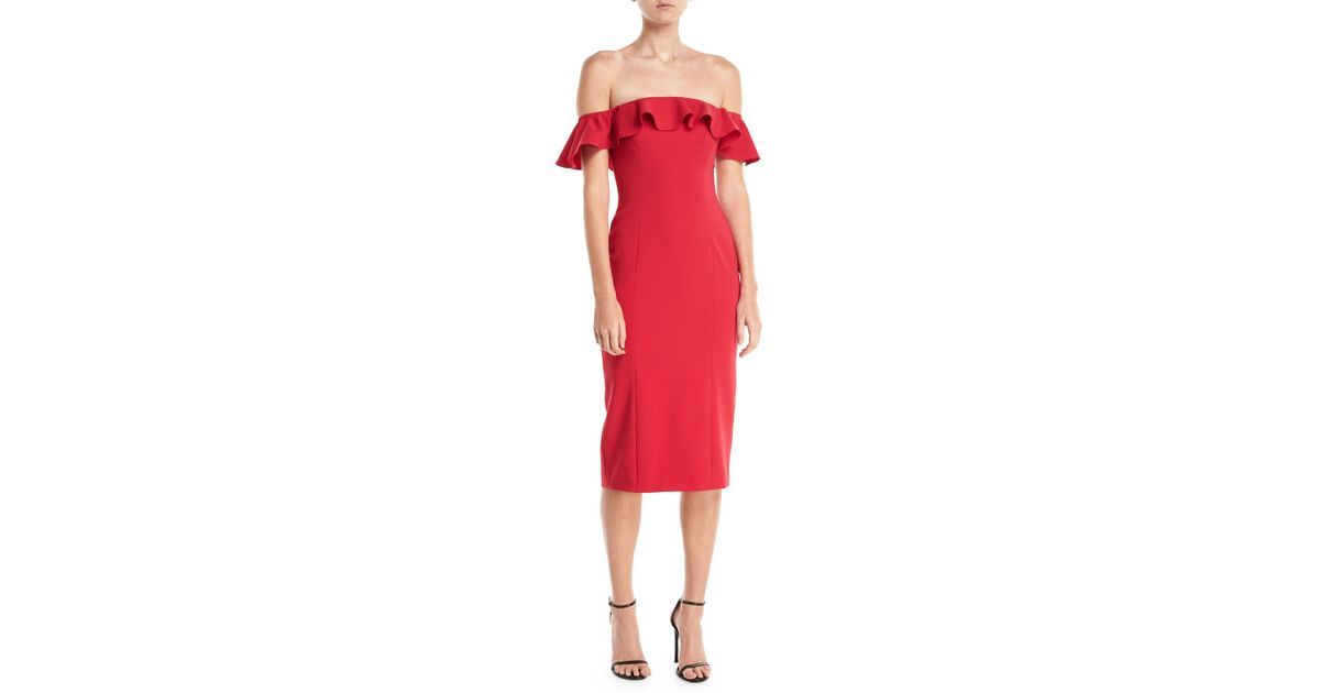 241617b1850f1 Lyst - Jay Godfrey Rollins Off-the-shoulder Ruffle Cocktail Dress in Red