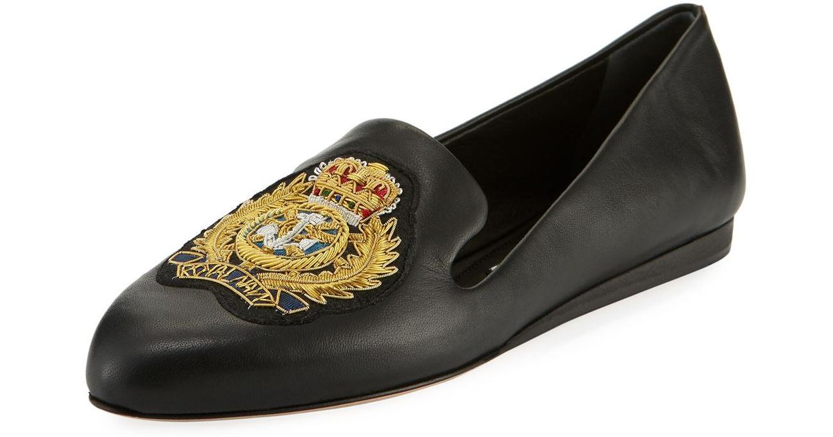 63b046ace15 Lyst - Veronica Beard Griffin Patch Flat Napa Leather Slip-on Loafers in  Black - Save 43%