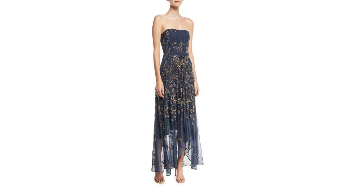 Lyst - Haute Hippie Tango Strapless Illusion Gown in Blue