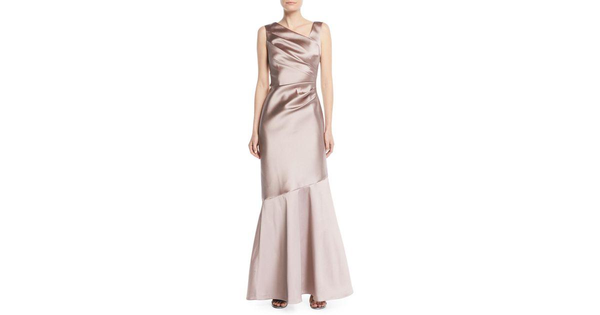 e670d905d5c03 Lyst - Teri Jon Stretch Mikado Asymmetric Gown in Purple
