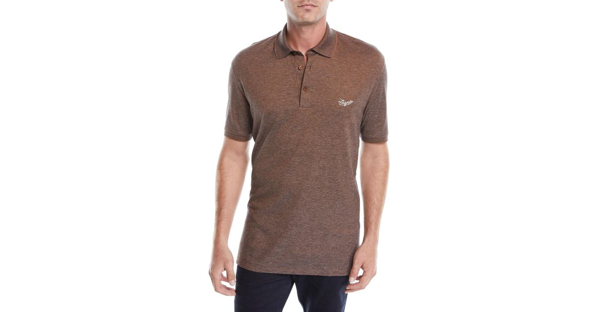 8373f598 Lyst - Ermenegildo Zegna Men's Vicuna Logo Short-sleeve Polo Shirt in Brown  for Men