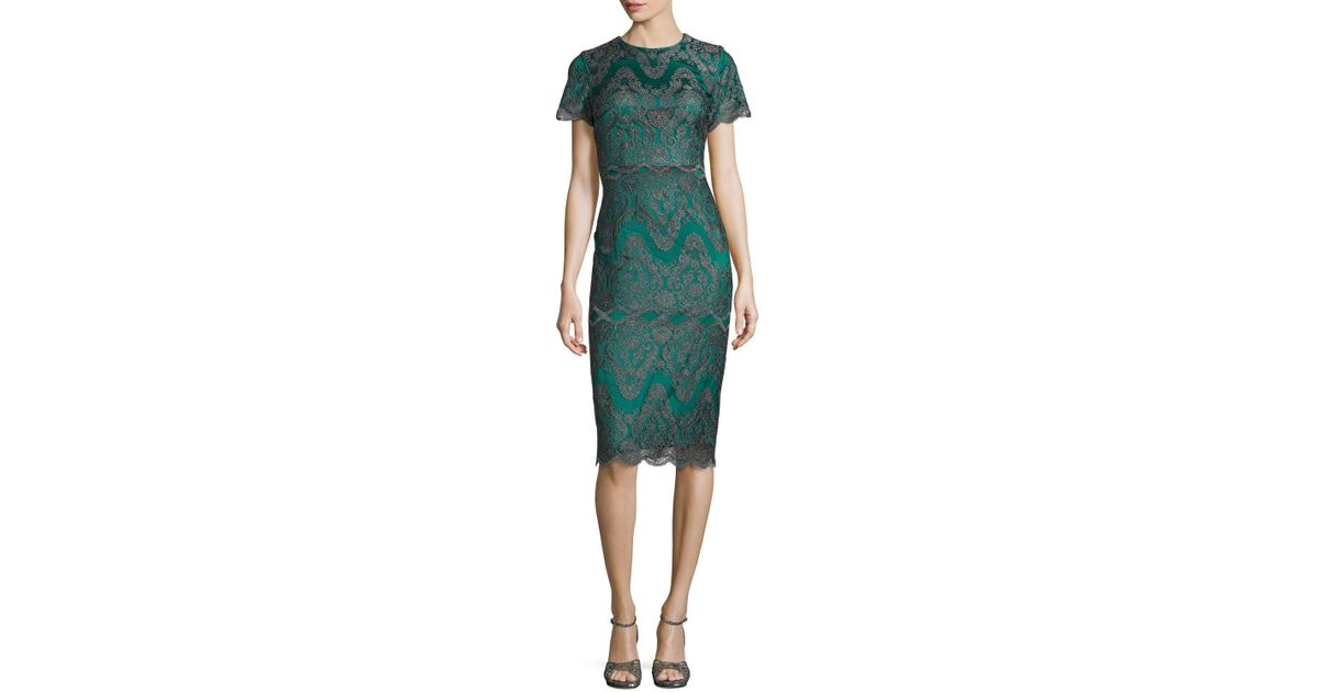 Lyst - Catherine Deane Short-sleeve Metallic Lace Cocktail Dress in ...