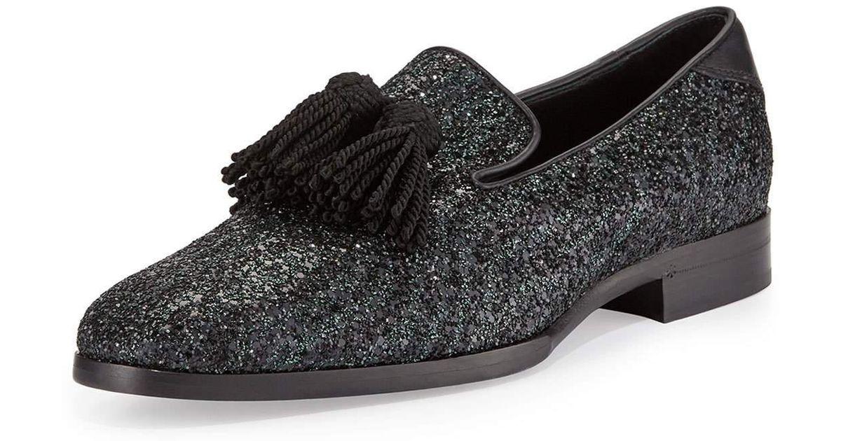 808eeee3cba Lyst - Jimmy Choo Foxley Coarse Glitter Leather Tassel Loafer in Black for  Men