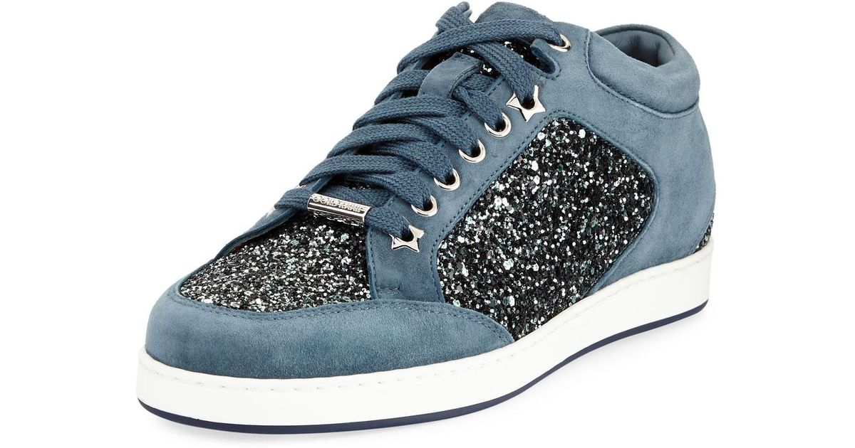 530a8f1dcc25 Jimmy Choo Miami Coarse Glitter Sneakers in Blue for Men - Lyst