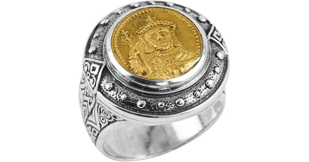 Konstantino Mens Byzantium Sterling Silver & Bronze Coin Ring ti0ta6f2
