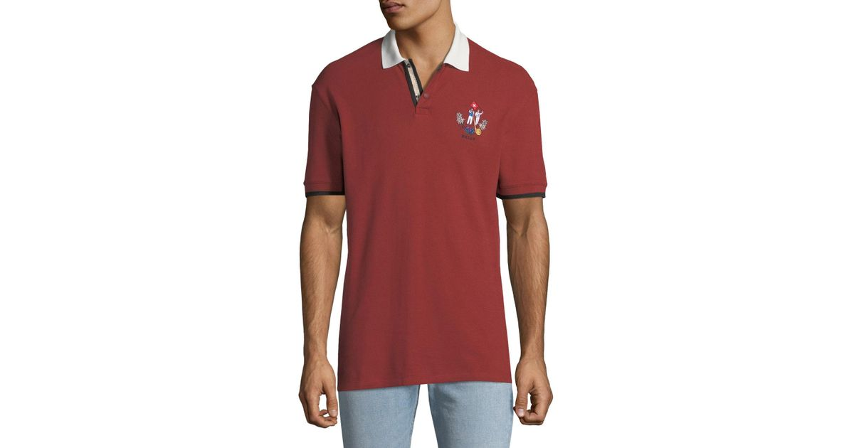 aa997732 Lyst - Bally Men's Animals Contrast-trim Polo Shirt Red in Red for Men