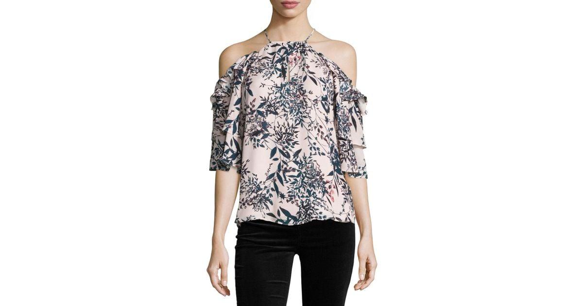 b3eef2f13bc89b Lyst - Parker Cindy Floral-print Cold-shoulder Silk Top in Black
