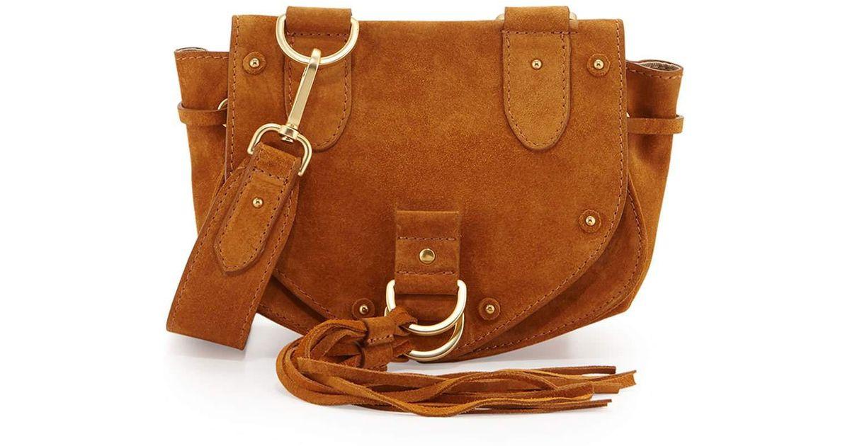 5b9d40d28cf0 Lyst - See By Chloé Collins Fringe Suede Saddle Bag