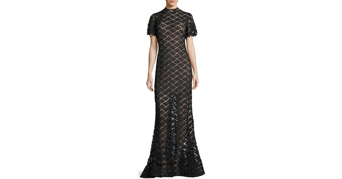 Lyst Jovani Short Sleeve Crochet Overlay Evening Gown In Black