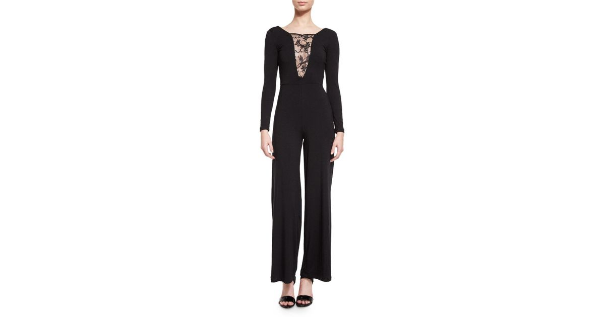 dbbd66add887 Lyst - Nightcap Lace-inset Long-sleeve Jumpsuit in Black