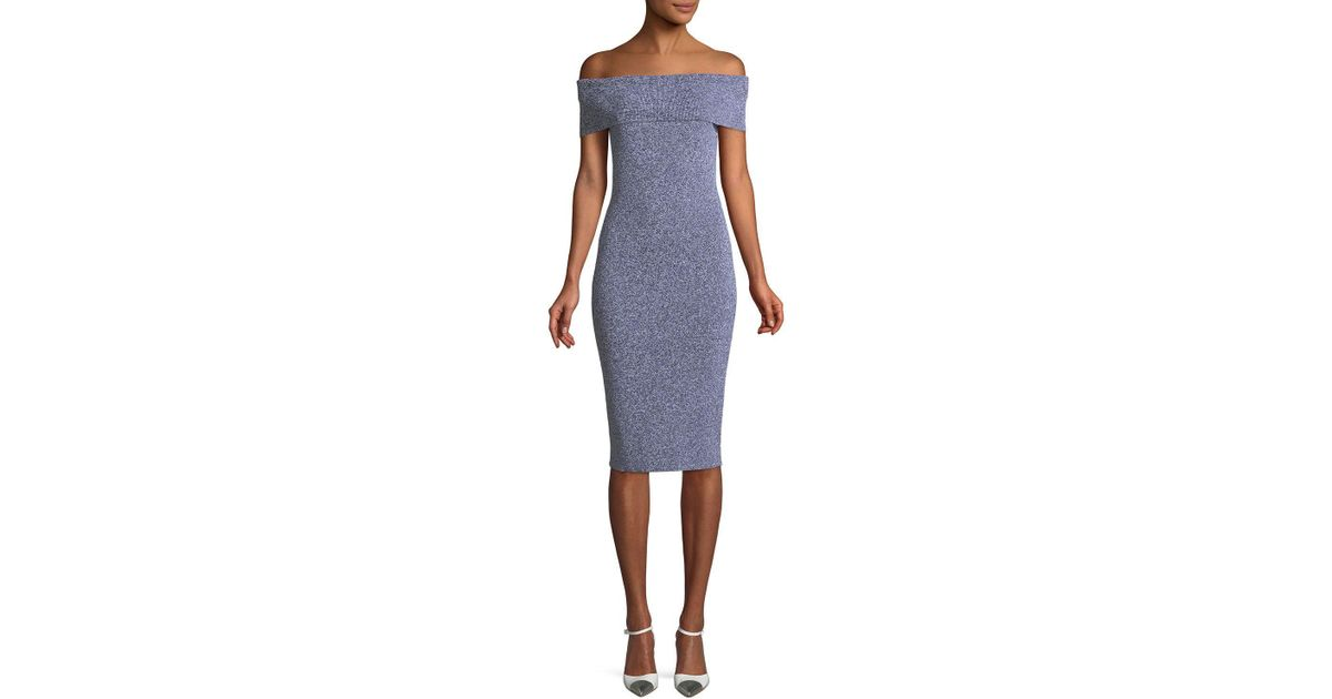 8176ee3d09eee Lyst - MICHAEL Michael Kors Plaited Rib-knit Off-the-shoulder Dress in Blue