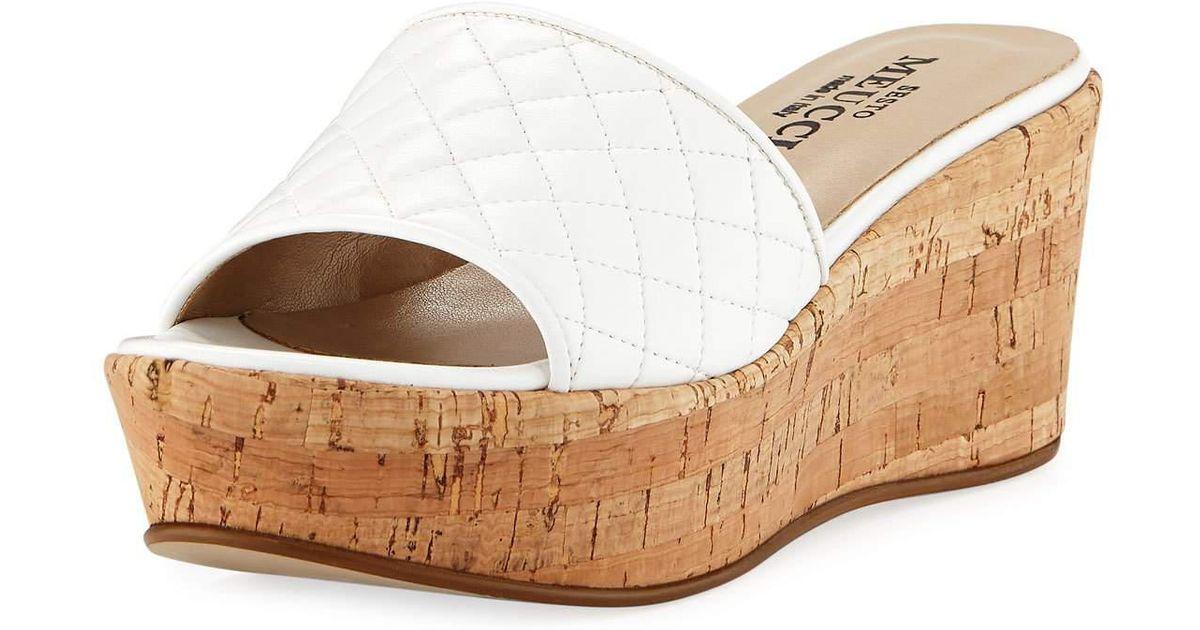 Sesto Meucci Tarie Quilted Napa Wedge Slide Sandal 898adj72c
