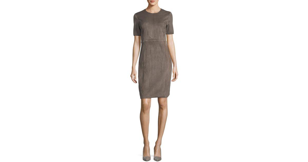 001d4de24960 Lyst - Elie Tahari Emily Short-sleeve Suede Sheath Dress in Gray