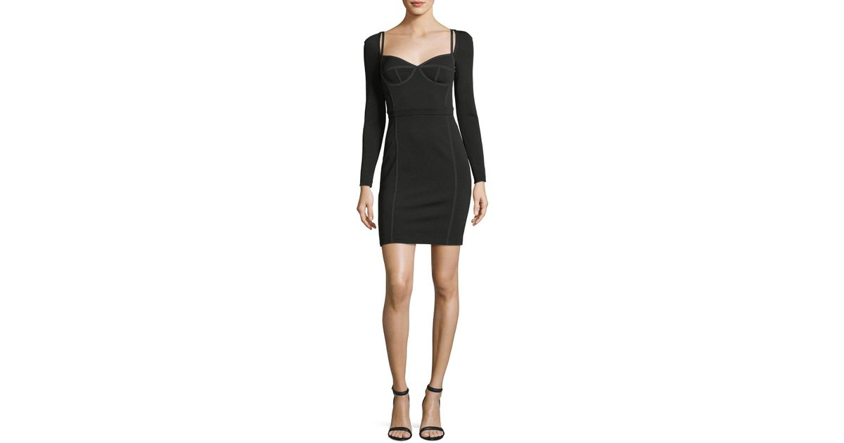 Lyst T By Alexander Wang Fitted Long Sleeve Bustier Dress In Black