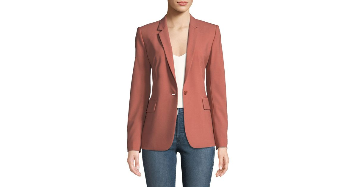 a64bcb57c2 Theory Essential One-button Stretch-wool Jacket in Pink - Lyst