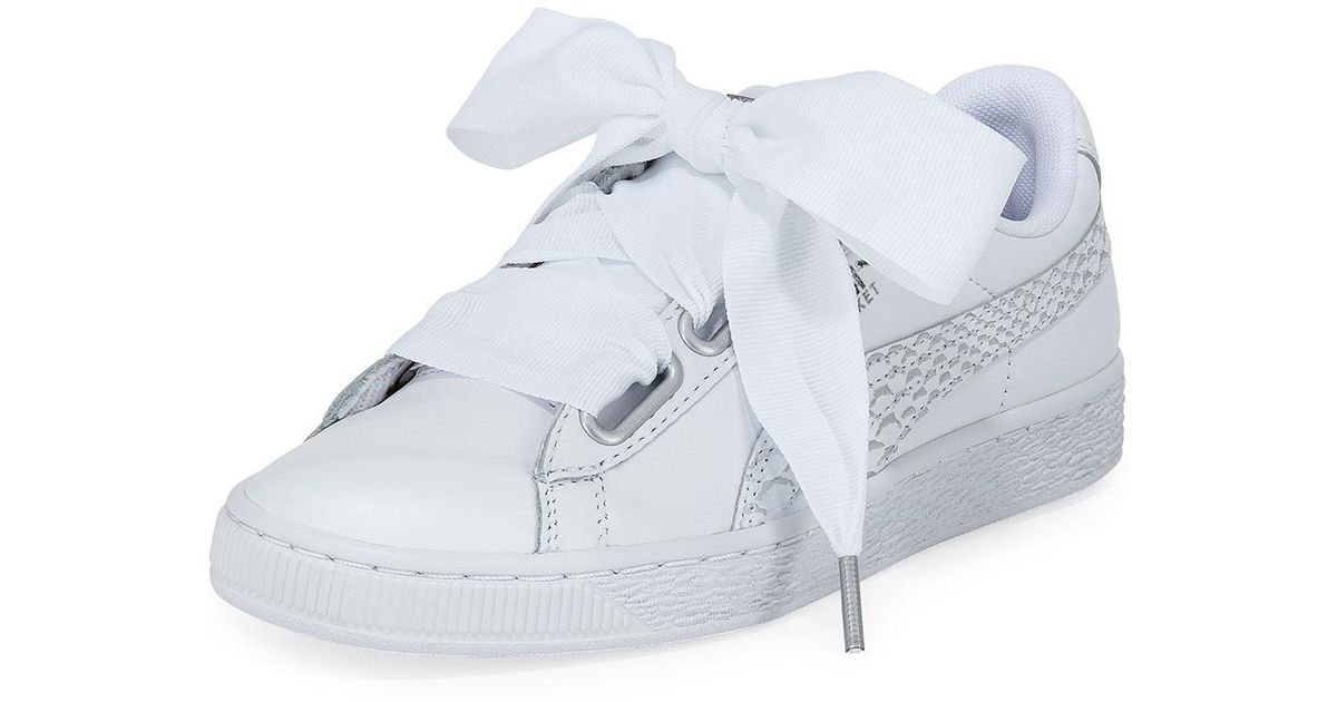 fb116c88a0d4 Lyst - PUMA Basket Heart Oceanaire Ribbon-laced Sneakers in White