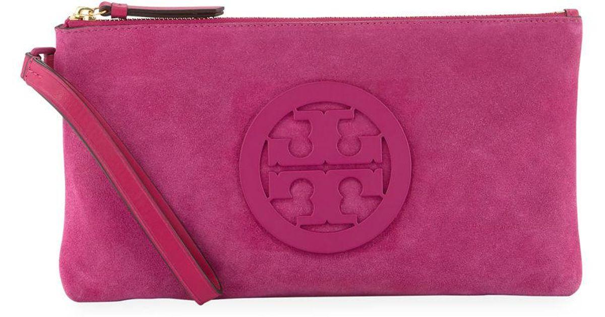 b3f0fcc0dcc Lyst - Tory Burch Charlie Suede Logo Clutch Bag in Purple