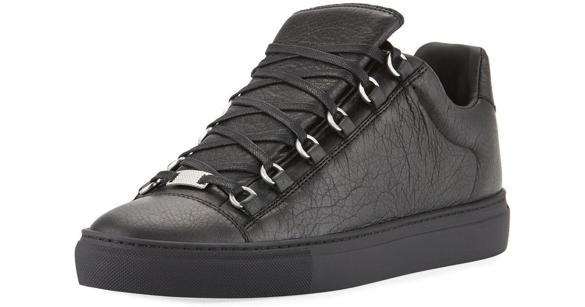 Lyst - Balenciaga Men s Arena Leather Low-top Sneakers in Black for Men e7165f8e7