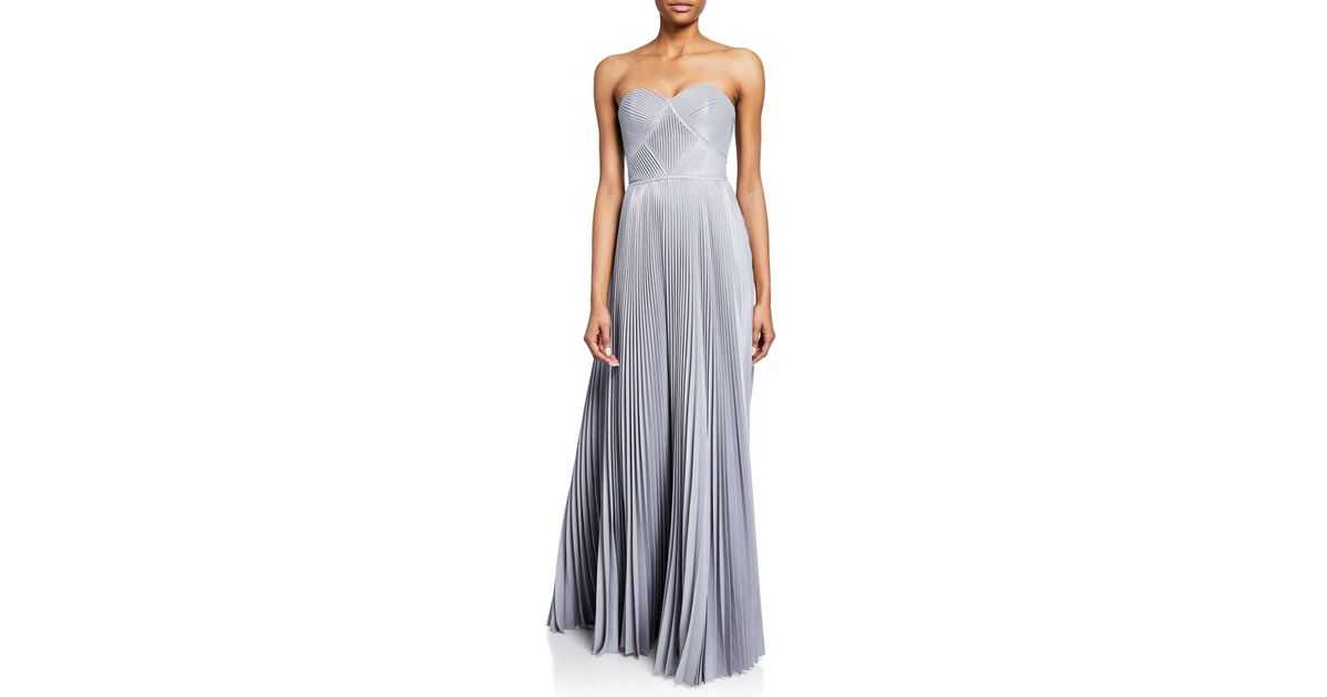 5806d5aa Lyst - Marchesa Notte Strapless Pleated Lame Gown With Metallic Trim in  Metallic