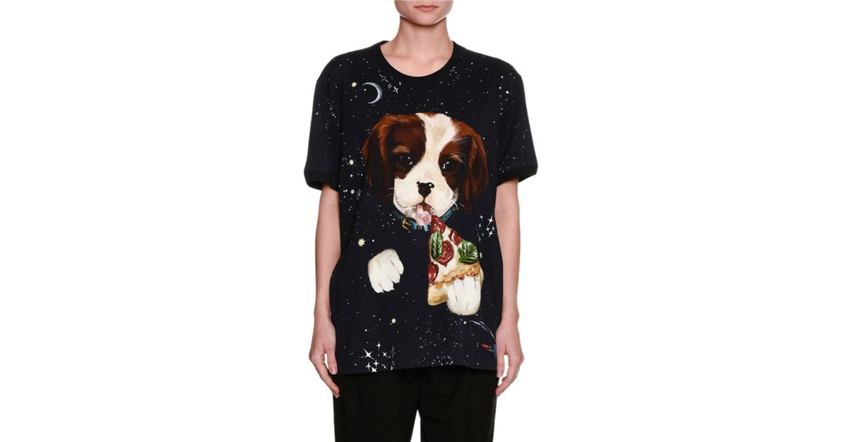 f1042c338997c6 Lyst - Dolce   Gabbana Dog   Pizza Space-print Cotton T-shirt in Black