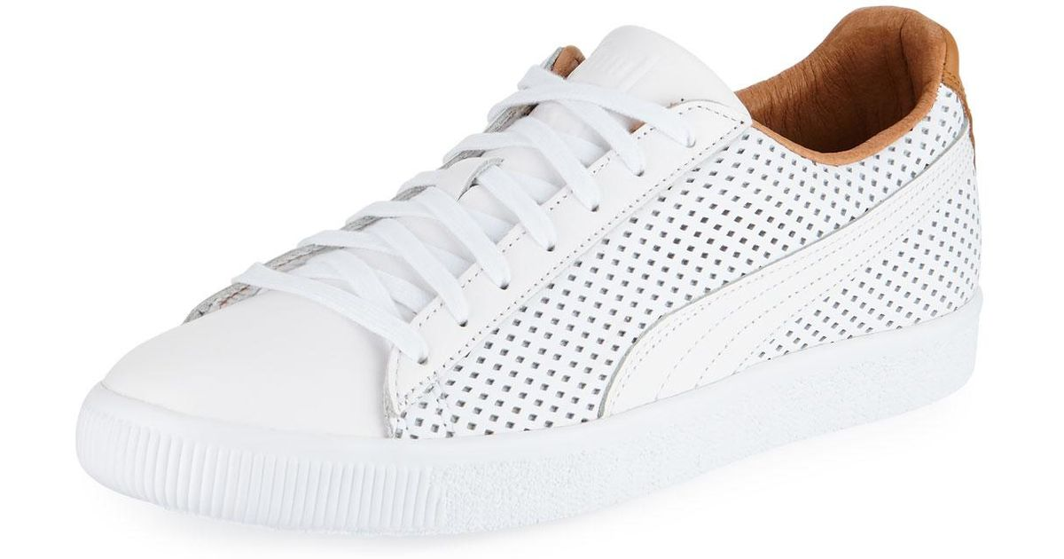 66f095fc713 Puma Men s Clyde Perforated Leather Creeper Sneakers in White for Men - Lyst