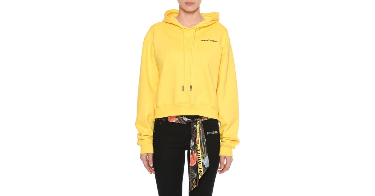 f877f861a294 Lyst - Off-White c o Virgil Abloh Cropped Hoodie in Yellow