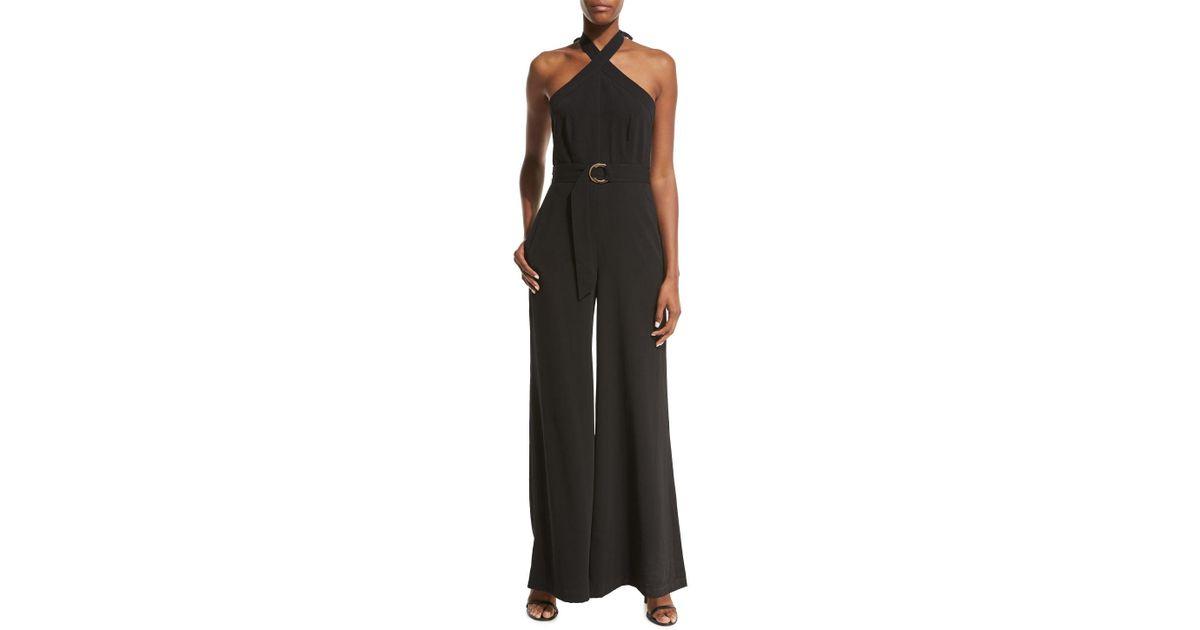 a866651bf67 Lyst - JILL Jill Stuart Belted Crepe Halter Jumpsuit in Black