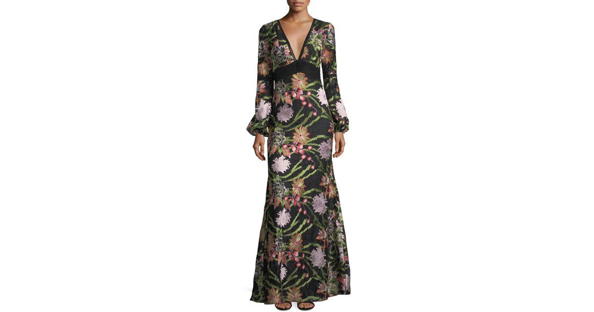 26ebc3ff64 Badgley Mischka Boho Floral Crochet Lace Evening Gown in Black - Lyst