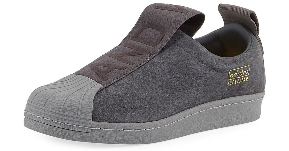 e5d322145 Lyst - adidas Superstar Slip-on Suede Sneaker in Gray