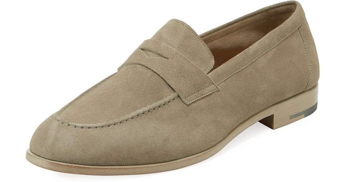 09312acfb3c Lyst - Giorgio Armani Men s Goat Suede Penny Loafer for Men